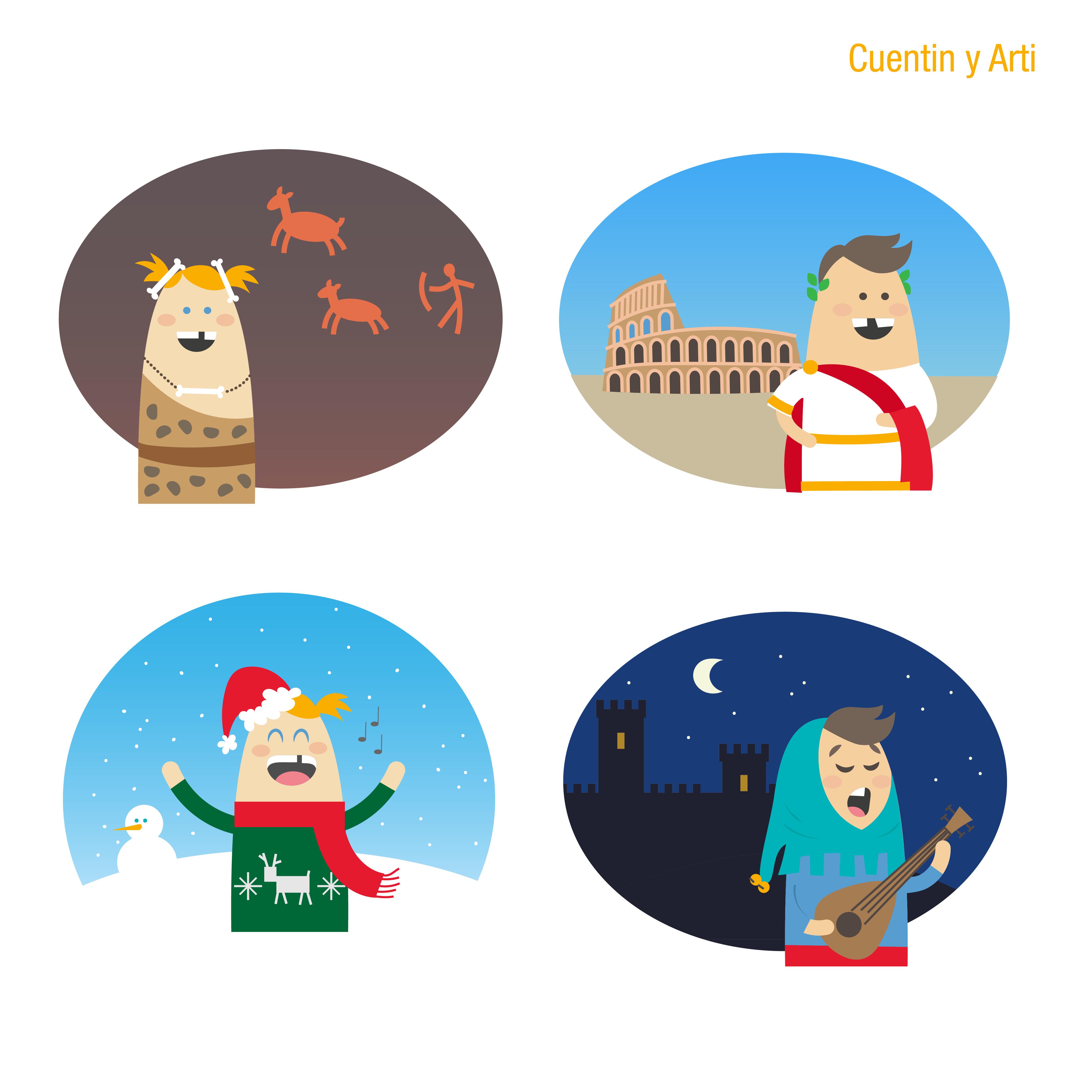 Diseño de personajes para Cuentame un cuadro historia aviles